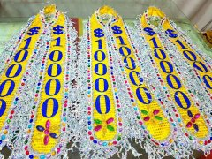 山东旗帜布批发厂家 蕾丝刺绣花场绶带出口东南亚国家